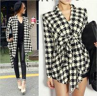 2014 Fashion Spring Women's Long Sleeve Houndstooth Print Open Stitch Belt Peplum Slim Jacket Cardigan Coat Top #0395