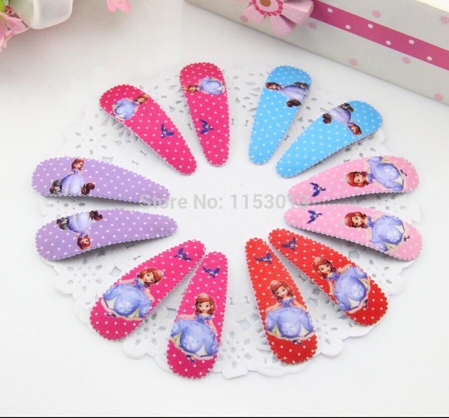 {Min.Order $15}60pcs/Lot New Kids/Girl/Princess/Baby 5cm Little Princess Print Fabric Hair Clip /Hair Accessories(China (Mainland))