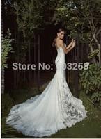 DWD8 2015 Mermaid Spaghetti Strap Backless Galia Lahav Lace Spring Wedding Dress