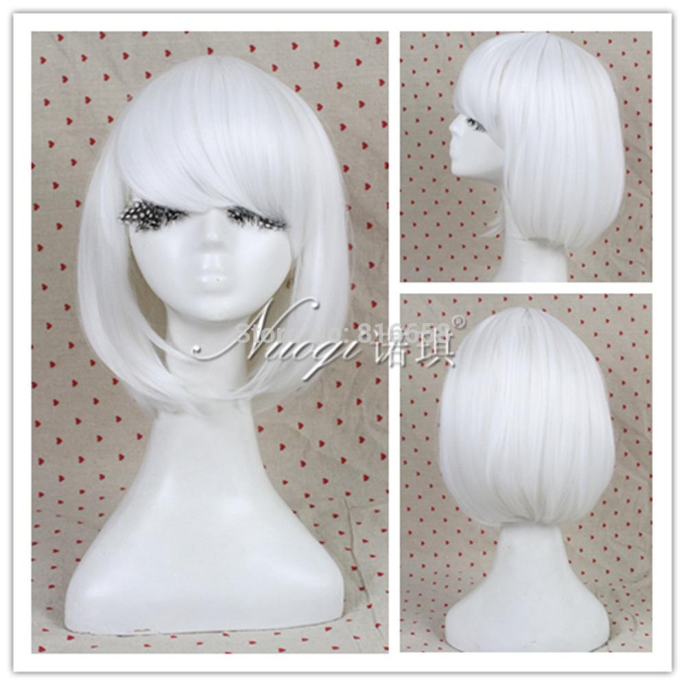Free shipping@@HOT Fashion Lolita Bob Lady GaGa Women White Short Straight Cosplay Wig(China (Mainland))