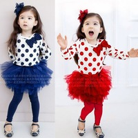 Zoo Party Autumn new children's clothing suit girls' clothes set Wholesale Korean printing bow skirt suit children 2 PCS