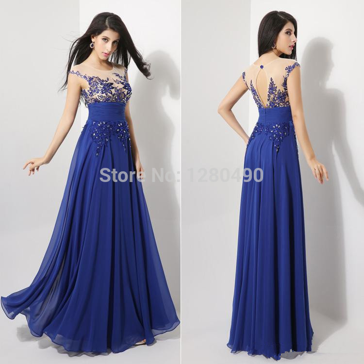 2015 New A-Line Scoop Cap Sleeve Chiffon Appliques Prom Dresses Evening Gowns Sleeveless Floor Length Royal Blue Real Sample(China (Mainland))