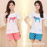 The new Ms. cotton pajamas cute cartoon pajamas tracksuit pant suit short sleeve wholesale Spring