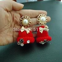 Moco-10 Jingle Bell Beanie Cute Earrings Little Pearl Earrings Creative Woman's Holiday Party Earrings