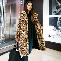 2015 New Women's Fashion Hairy Shaggy Leopard Faux Rabbit Fur Lapel Collar Long Sleeve Long Coat Outerwear Loose Overcoat Jacket