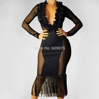 Bodycon Pary Club Dresses Deep V Sexy Women Dress Long Sleeve Autumn Black Mesh Dress Wholesale Casual Dress Vestidos