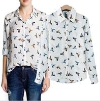 2015 Spring New Arrival Women Fashion Animal Printed Pattern Loose Chiffon Blouse White Casual Shirts