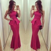 vestidos 2015 New Fashion Long Maxi  Dress Women Sleeveless Vintage Red Evening Party Dresses vestido de festa Casual Dress