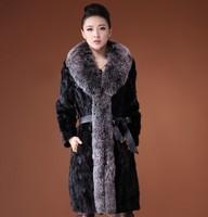 Winter Dress' Natural Mink Fur Coat Jacket Raccoon Fur Collar Winter Women Fur Trench Outerwear Coats Plus Size fur coat E048