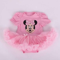 Many styles baby rompers boy's girl's summer cartoon Minnie Mickey short-sleeve romper baby's wear Conjoined clothes+ headwear