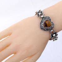 Wholesale Fashion Vintage Brown Heart Gem Flower Style Tibetan Silver Crystal Bangle Bracelet JewelryFor Women