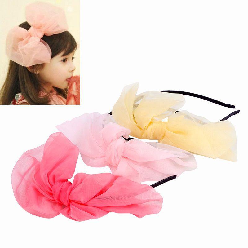 Kids Baby Toddler Girl Elastic Headband Chiffon Bowknot Headwear Hair Ban Gift Hair Accessories#65964(China (Mainland))