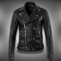 counter top leather jacket men skeleton tide Korean version of Slim short section of high-quality motorcycle leather coat