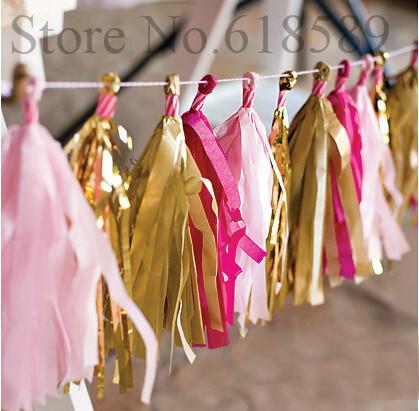 14 pouces.( 35cm) mylar mouchoir en papier guirlande gland brillants. mariage, saint valentin papier décoration de fête d'anniversaire