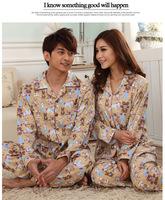 Cotton knit pajamas couple new winter men's fashion cardigan Pyjamas female cartoon piece