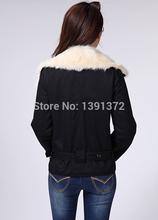 Womens Winter Coat Warm Black Faux Fur Lapel Motorcycle Jacket Thick Coat M L XL 189791