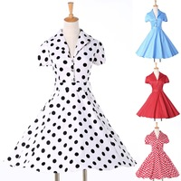 Cheap Women Cotton Rockabilly Swing Ball Gown 50s 60s Polka Dots Housewife dress Short Casual Vintage Party Prom dresses CL6089