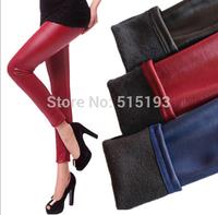 Women candy winter warm faux leather elastic velvet legging woman Thick Black Skinny Pants Women Slim Trousers plus size XL XXL