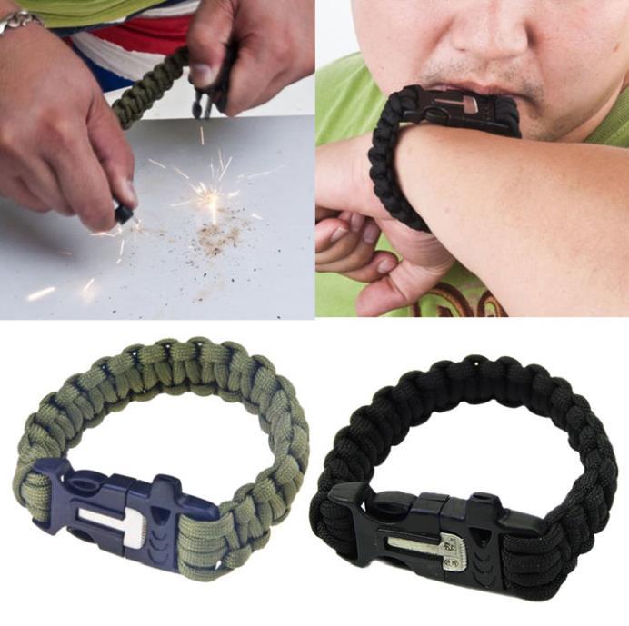 Newly Design Survival Bracelet Flint Fire Starter Scraper Whistle Gear Kits,Free shipping(China (Mainland))
