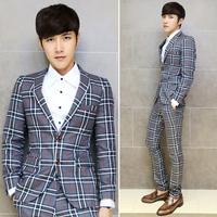 2014 New Fashion Korean Style Celebrities Gentleman Slim Suits Jackets Print Plaid  Men's Business Blazer Coat