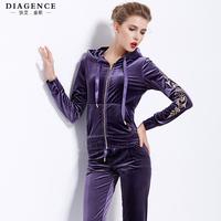 Diagence autumn fashion embroidery gold velvet sports long-sleeve casual fashion set women's