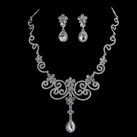 New Top quality flower Rhinestone crystal Bride Women Party Prom necklace earring Set Bridal Wedding jewelry set accessories