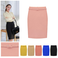 Long Skirts Womens Business Suit Women's Professional Solid High Waist Knee Length OL Slim Pencil Skirt Plus Size With Belt
