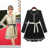 New 2014 Women Summer Slim Solid Elegant Lace O-Neck Pleated Mini Dress Ladies Long Sleeve Casual Needlepoint Dresses YT1149