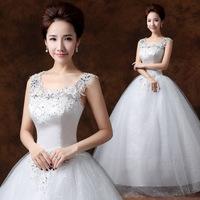 wedding dress 2014 new bride married pregnant woman was thin big yards shoulders word shoulder complex Gulei Si
