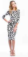 2014 New Spring Winter half Sleeve Bodycon Midi Dress Women Elegant Geometric Printed Dress Fashion Casual Dress