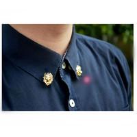 Men Jewelry Collar Pin Gold-tone Lion Head Collar Tips MXIUX CY036 coupon