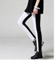 New Korean Fan personality female black and white stitching Cotton Flax outer wear Sexy legging
