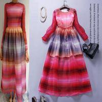 Amazing!High Quality New 2015 Spring Summer Fashion Women Gradient Dye Print Rainbow Color Long Sleeve Bohemia Long Beach Dress