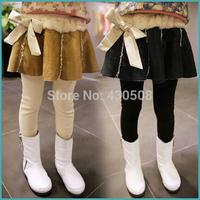 Tall waist girls leggings 2014 winter more add wool imitation leather girls culottes bootcut children's pants