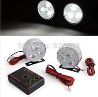 18W  strobe controller kit Automobile Round Fog lamp DRL Day light Police Emergency Warning Red Blue Rear brake lighting12V