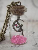 Fairy bottle necklace legend of zelda October birthstone pink NK218