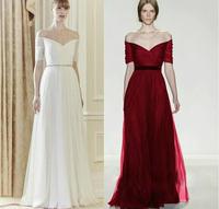 casual dress Fashion slit neckline V-neck bridal formal dress toast dinner elegant full dress bridesmaid dress