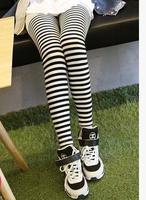 Black and white legging striped zebra leggings high waist pants female feet pencil pants thin section nine points trousers