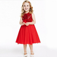2015 Fashion Kids Clothing Toddler Baby Girl Princess Party Dresses Red Little Girls Pageant Summer 3D Flower Lace Dress