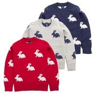 2014 male female child sweater spring and autumn baby sweater thermal rabbit knitted pullover winter