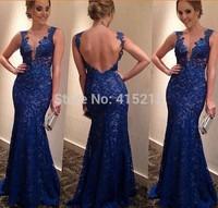 2014 New arrival women blue long lace dress backless party dress