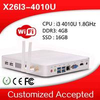 small but best quality mini pc x26-i3 i3 4010U fanless thin client 4g ram 16g ssd linux embedded 1080P mini itx tv box server