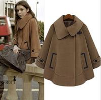 European Autumn Oversized Vintage Female Wool Coat Poncho Cashmere Abrigos Mujer Women Cloak Camel Woolen Outerwear Overcoat