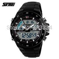 2015 new SKMEI Men Sports Watches Waterproof Fashion Men's Watch Digital Analog Military Multifunctional Wristwatches (black)