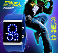 Free shipping 2015 fashion casual LED Multifunction watch Waterproof lovers electronic Wristwatches 7 colors---uytr