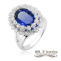 Hot Selling Blue Oval Flower Womens Rings (Size 7) Austrian Crystal Jewelry 10pcs/lot Free Shipping