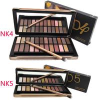 Brand Cosmetics Shadows 2pcs/lot Nake 4 5 Eyeshadow Palette 24 Metallic Colors NK4 NK5 Eye Shadow Palette with Brush Makeup Set