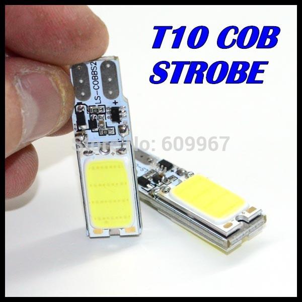 Free shipping 10pcs Super White t10 car led Strobe flash flashing lamp 194 W5W T10 cob LED lights auto led clearance lights(China (Mainland))
