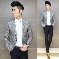2014 New Fashion Mens Vintage Slim Custom Fit  Print Flower Casual Dress Suit Blazer