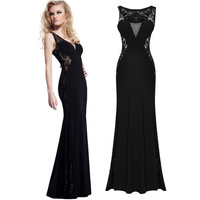 2015 New Fashion Women's Bodycon Patchwork Sexy Party Black Dress Floor-Length Lace Maxi Dress Vestidos Longos LQ1076